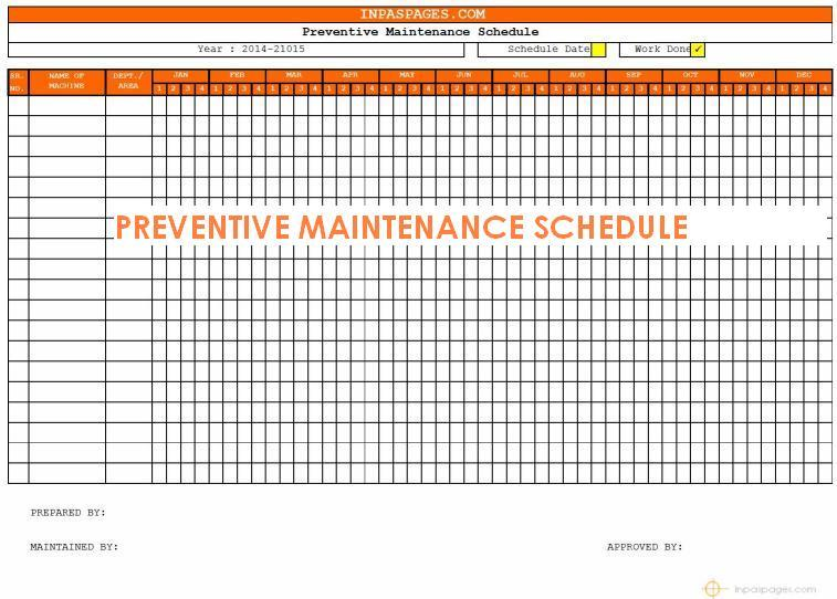 Preventive maintenance schedule maintenance task for Maintenance schedules templates