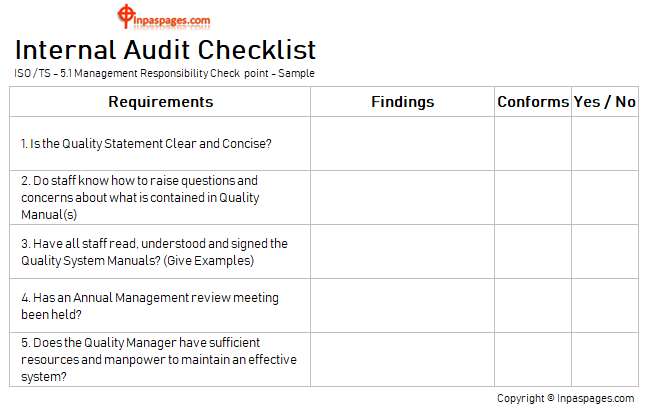 Internal Audit Checklist for Top management - Audit tool box