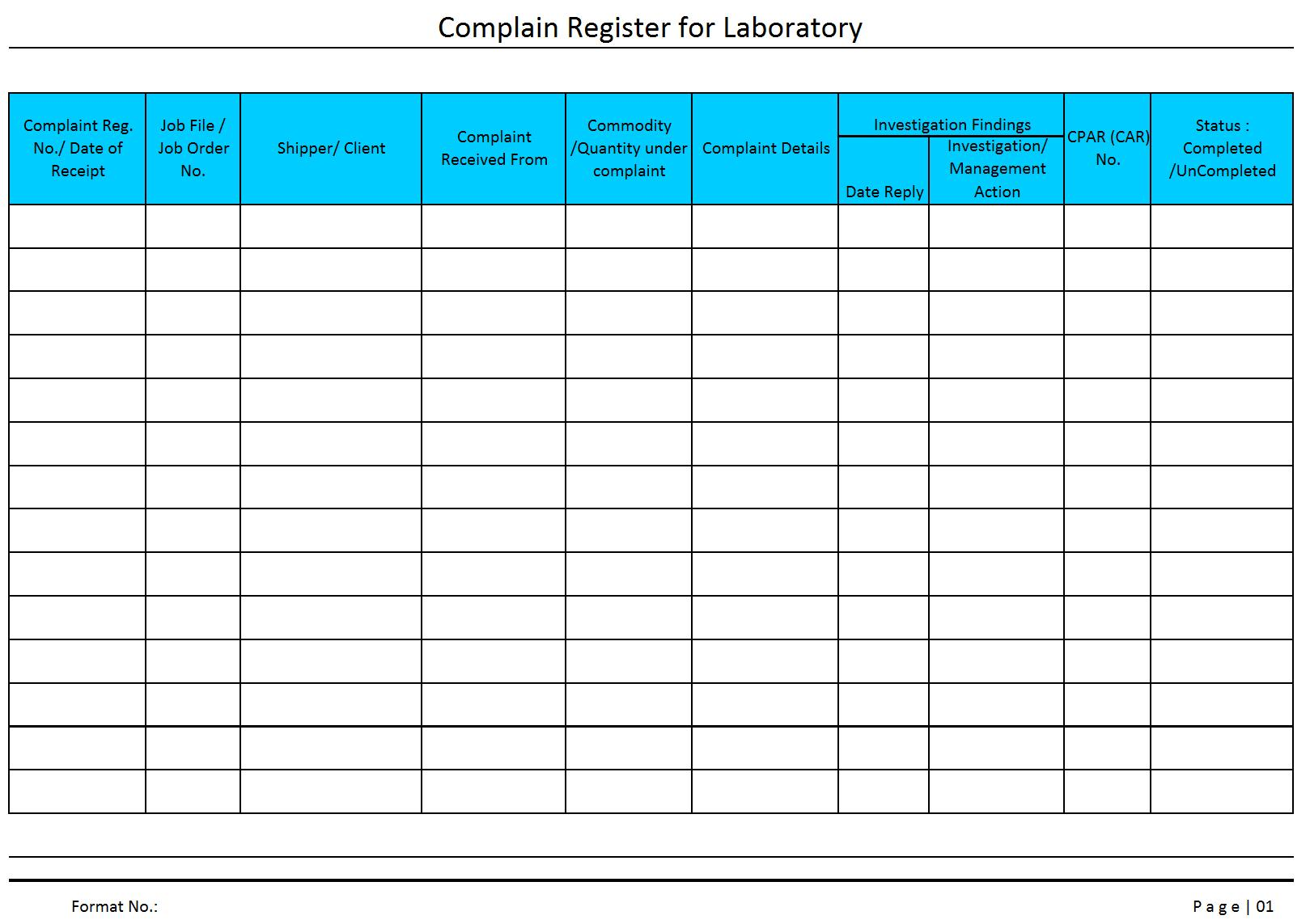 document register template free - complaint register for laboratory