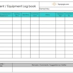 Equipment logbook / Instrument Logbook