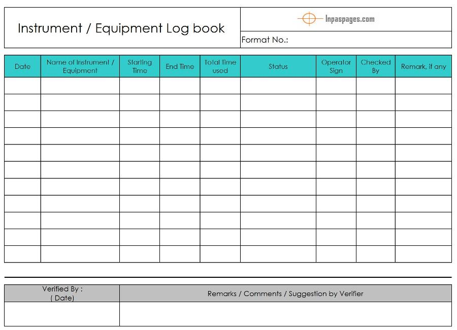 equipment log book template equipment logbook instrument logbook