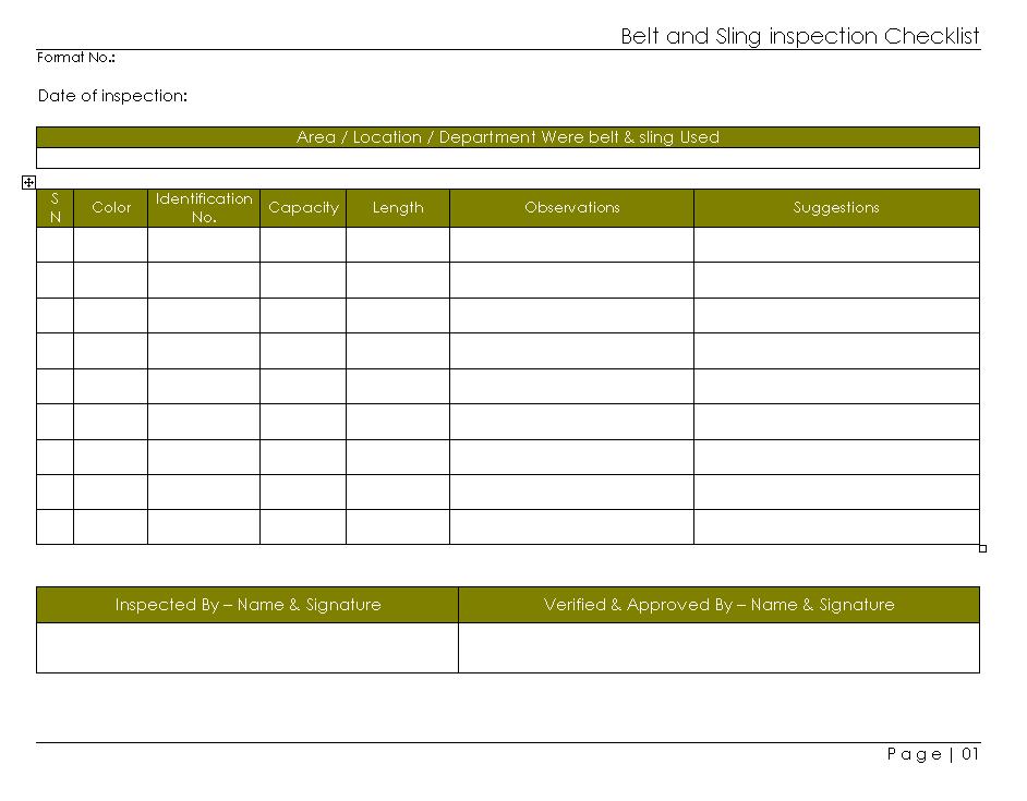 Belt U0026 Sling Inspection Checklist