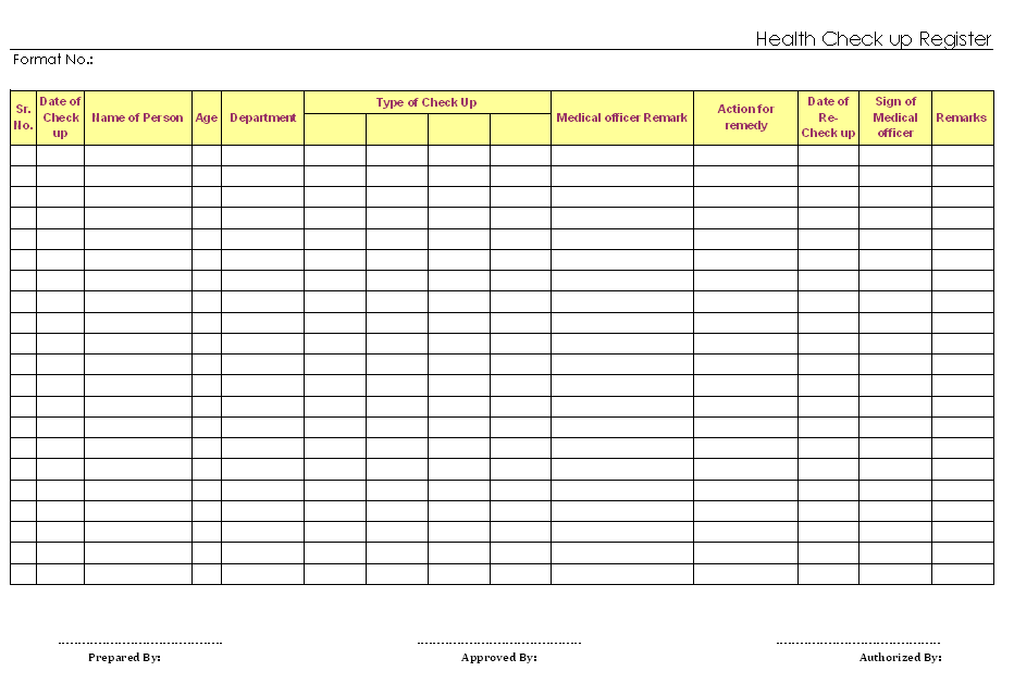 Health checkup register for Shop drawing log template