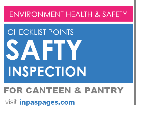 Safety inspection checklist points for Canteen & Pantry room