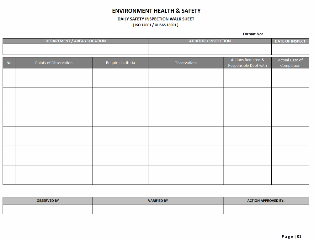 Safety Inspection walk sheet