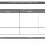 Special Process validation Criteria Plan