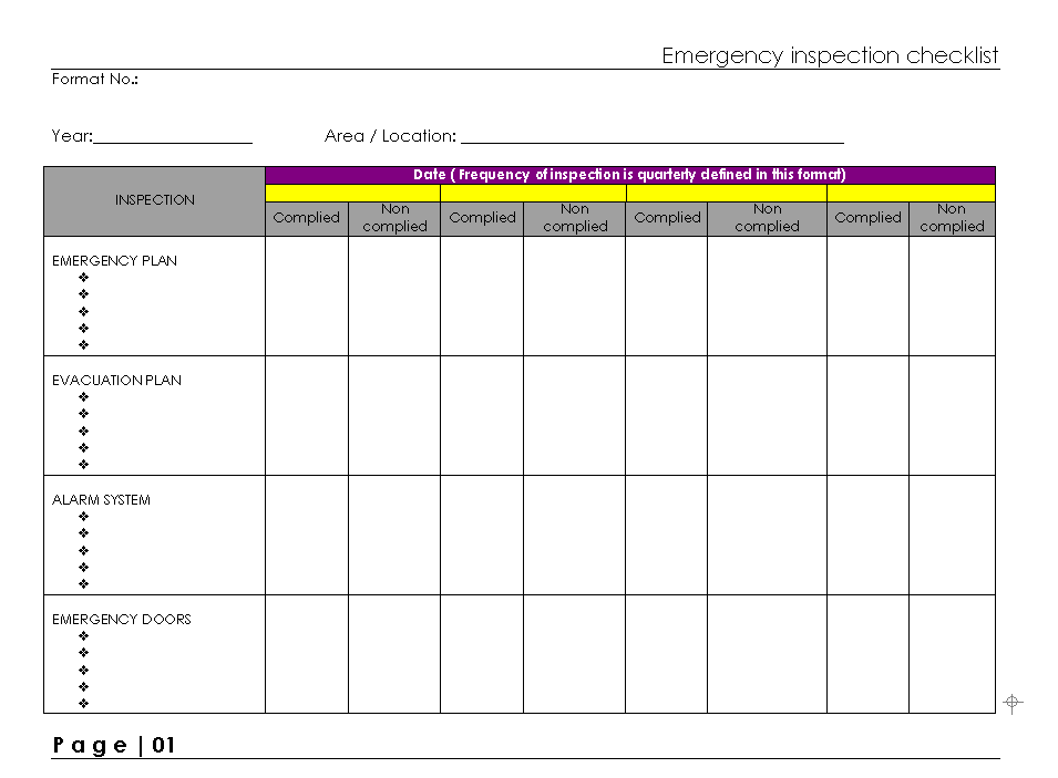 Emergency Inspection Checklist