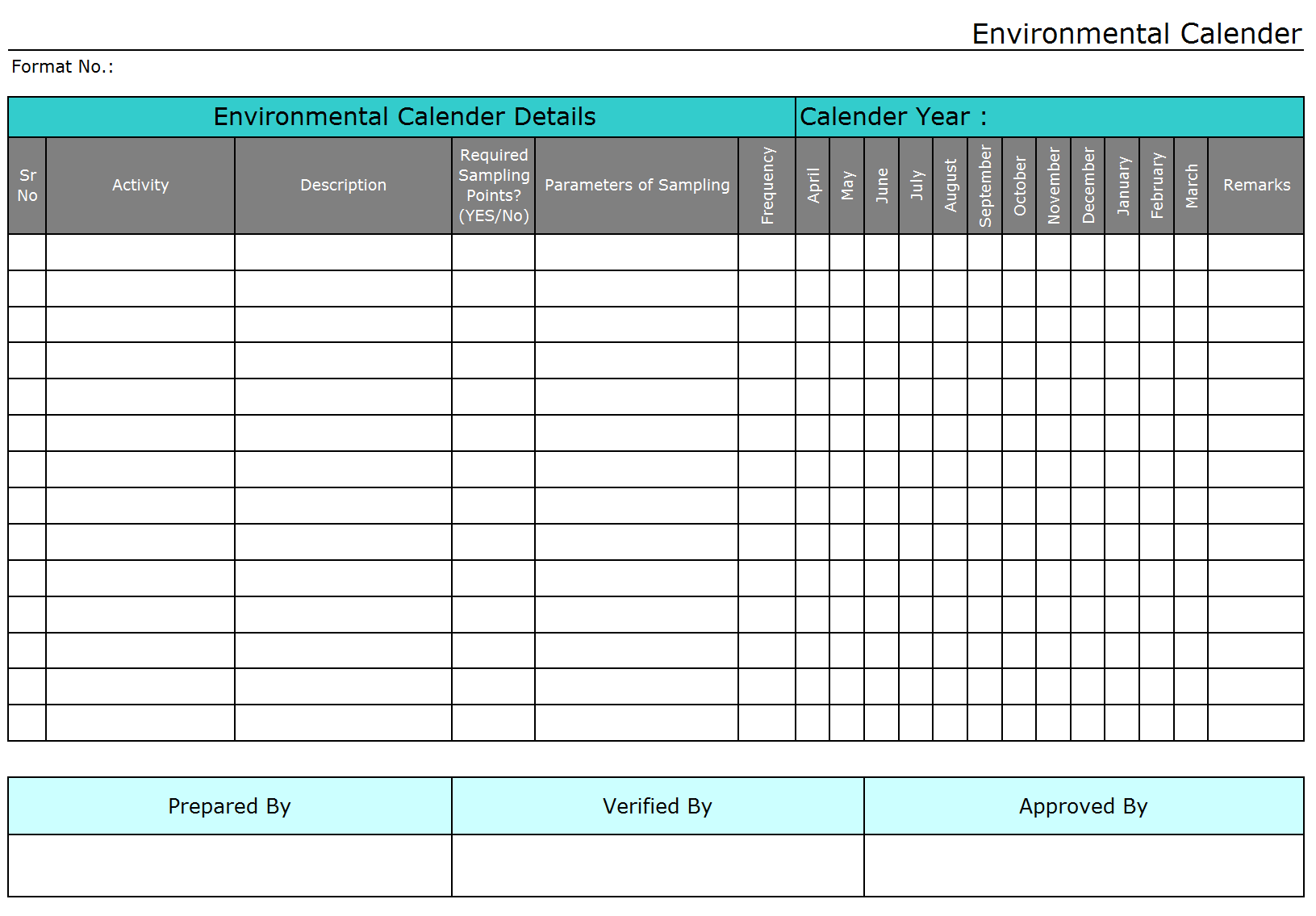 Calendar Organization Rules : Environmental calendar