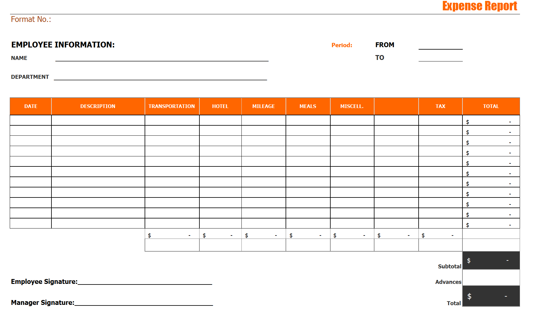 Simple Expense Report Template noc sample letter from employer – Personal Monthly Expense Report Template