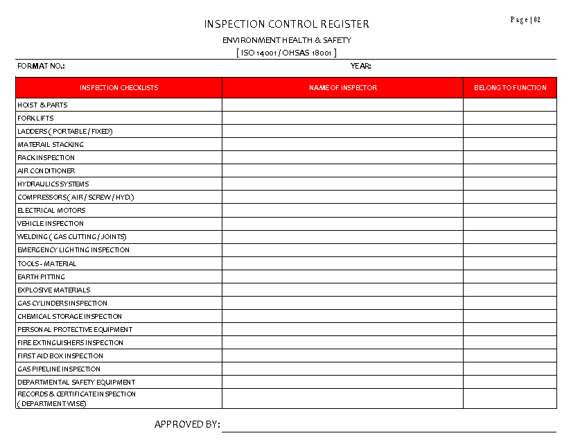 INSPECTION CONTROL REGISTER  PAGE 02