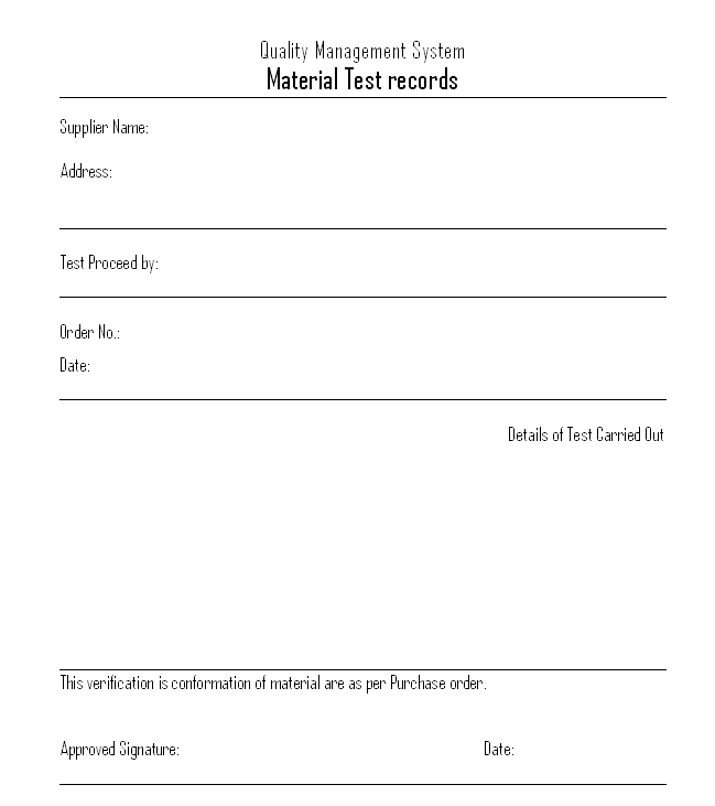 Material Test record format