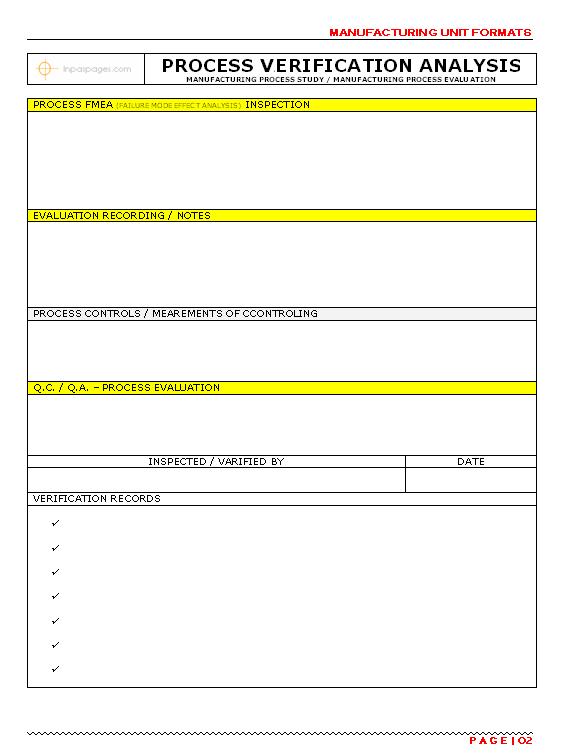 Process Verification Analysis Format Pg.-02