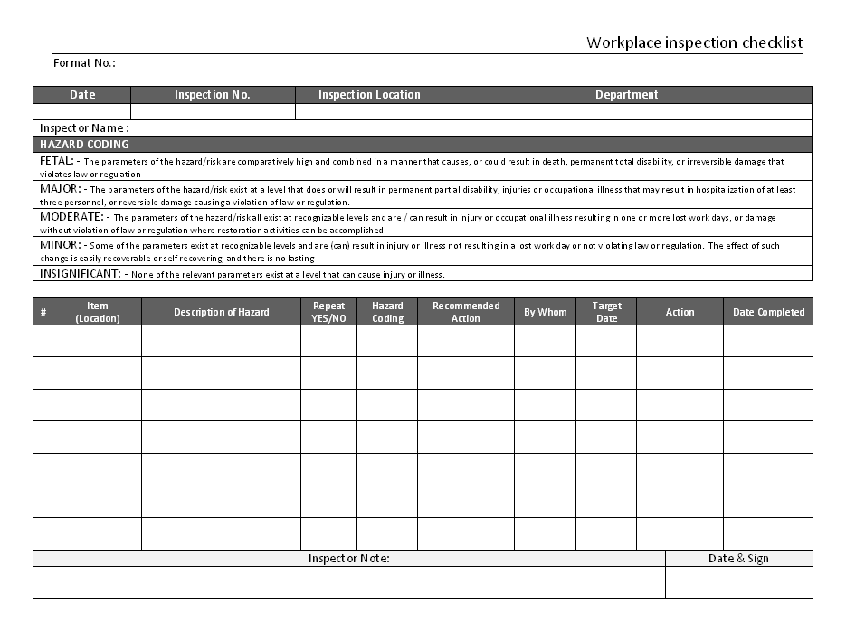 Workplace inspection checklist for Ohs inspection checklist template