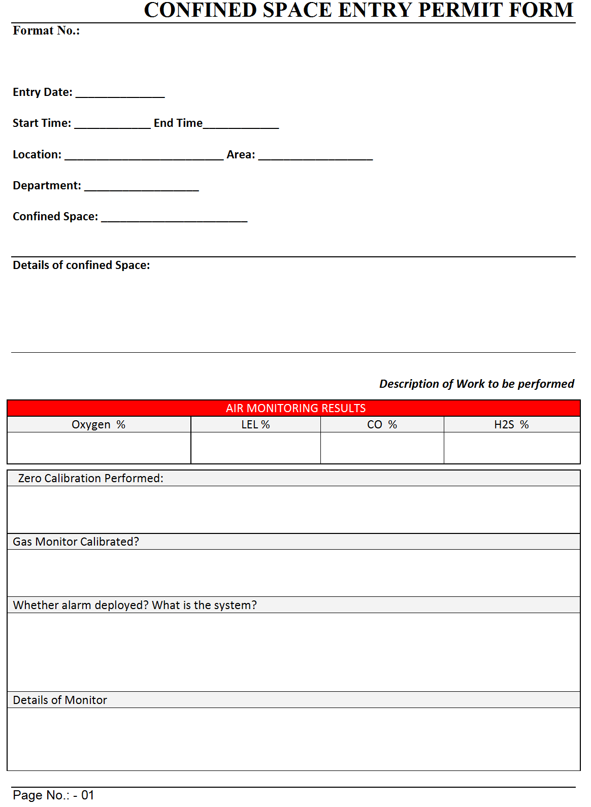 Confined Space Entry Permit Form -