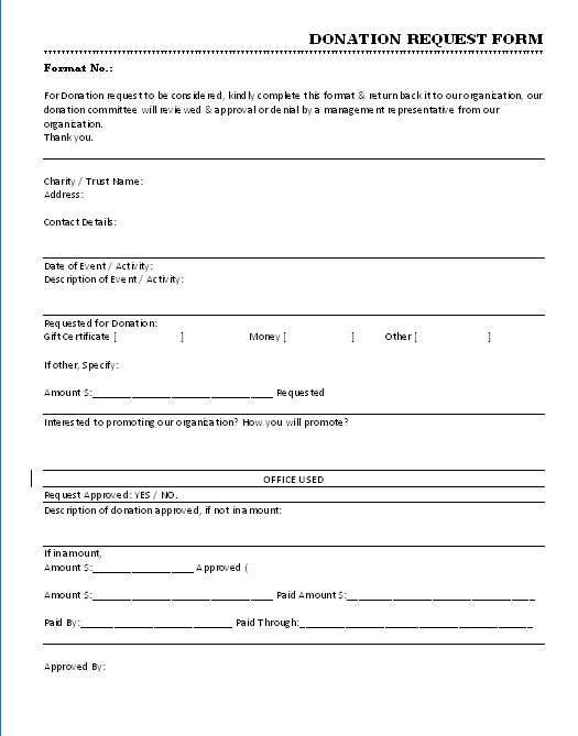 Marvelous DONATION REQUEST FORM IN WORD DOCUMENT DOWNLOAD FREE