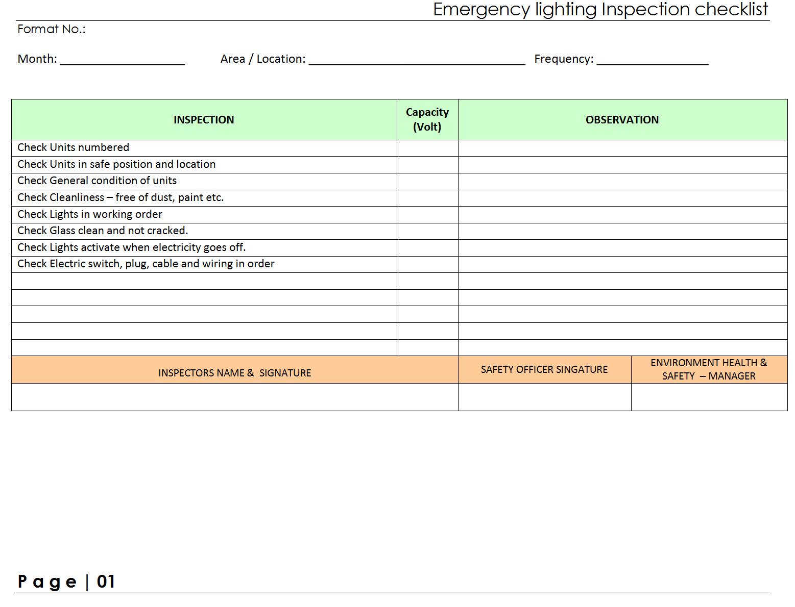 Emergency Light Testing Checklist