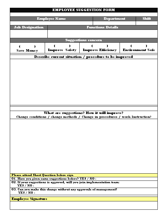 Employee Suggestion Form Daily Records In Word Doent Free