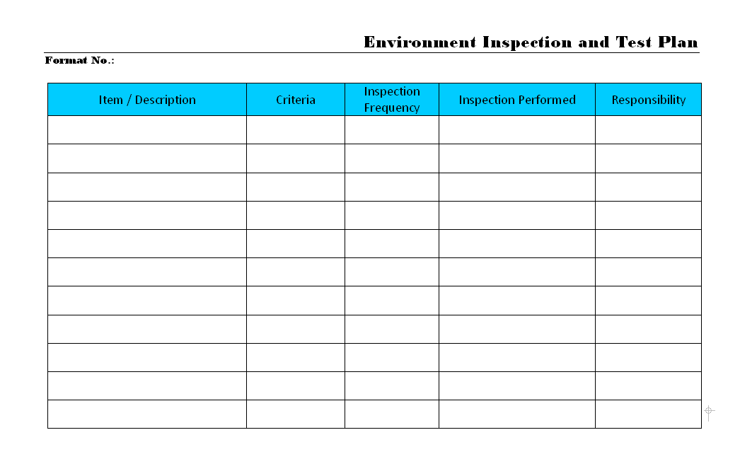 Environment Inspection and test plan
