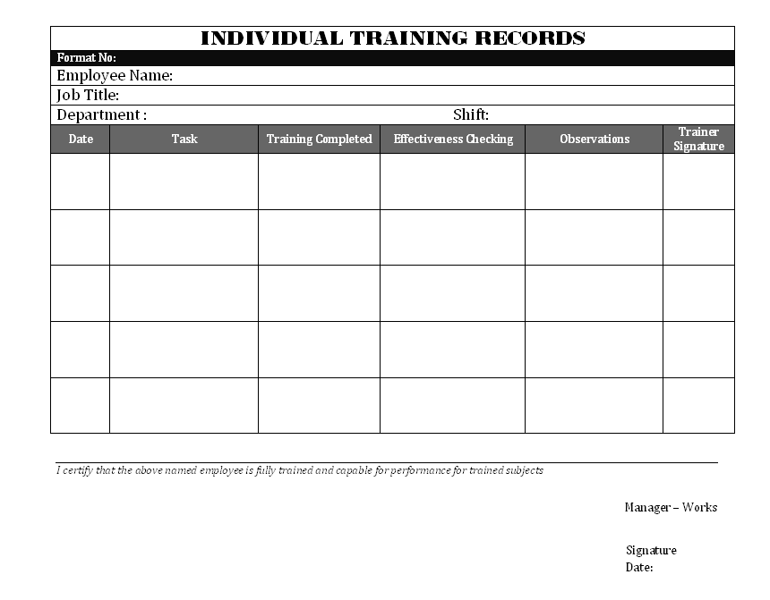 Individual training record for Training record template in excel