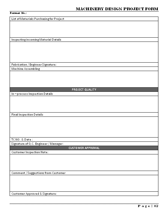 Machinery design project form page 2