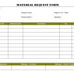 Material request form for Construction material request form template