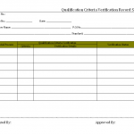 Qualification criteria verification record sheet