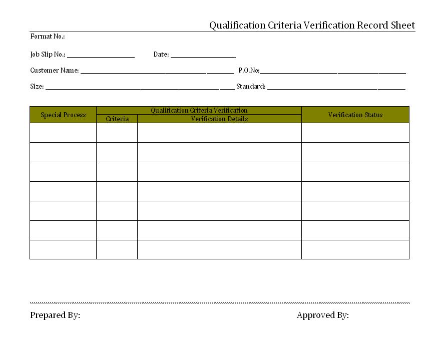 Qualification criteria verification record sheet