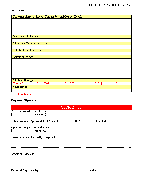 Refund request form refund request form in word document download free altavistaventures Images