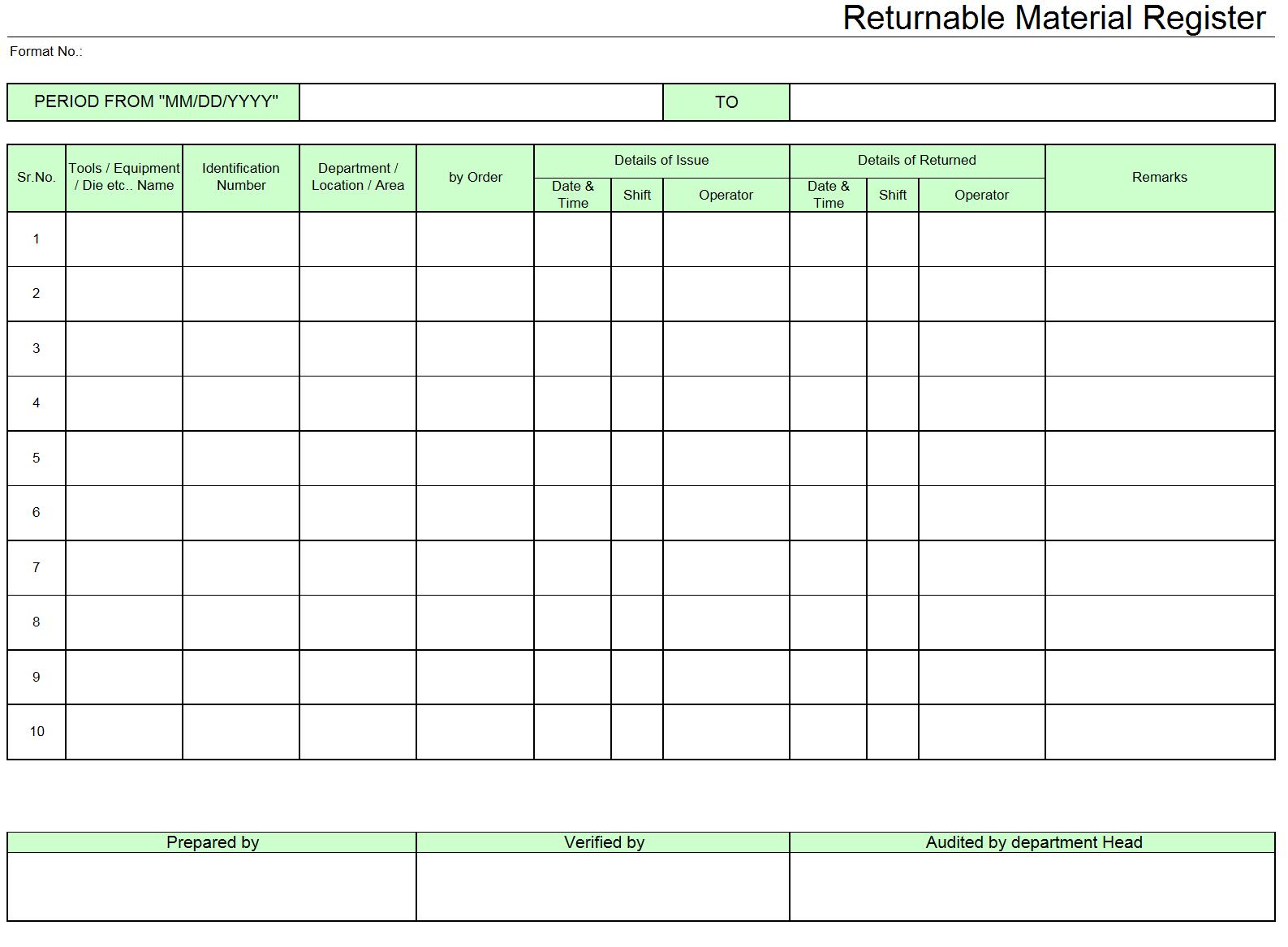 Returnable material register