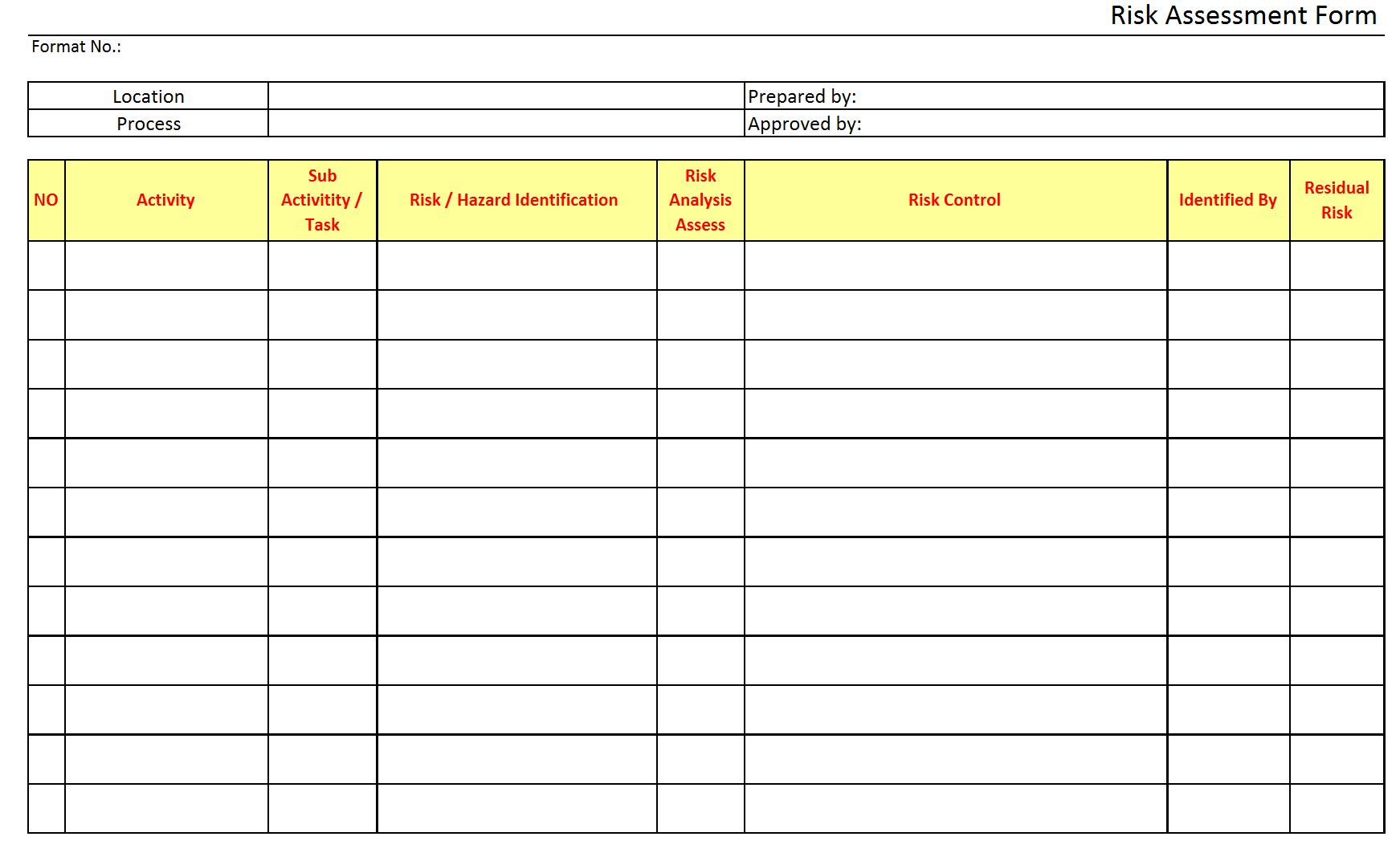 Risk Assessment Form  Assessment Forms Templates