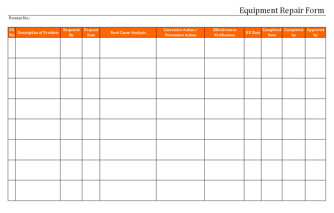 Equipment repair form for Equipment replacement plan template