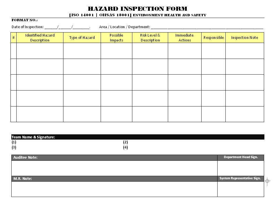 Hazard inspection form for Hazard risk register template