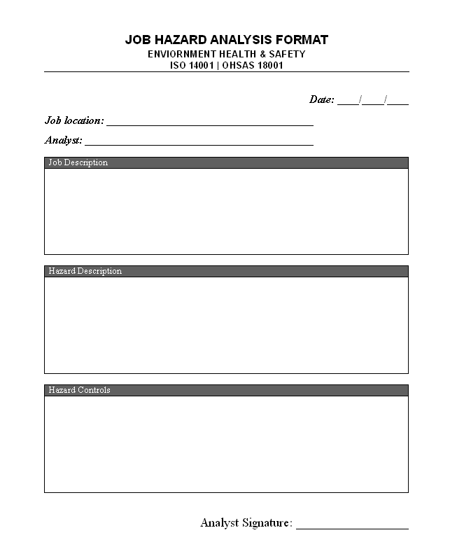 Job Hazard Analysis Form Template  Job Safety Analysis Form Template