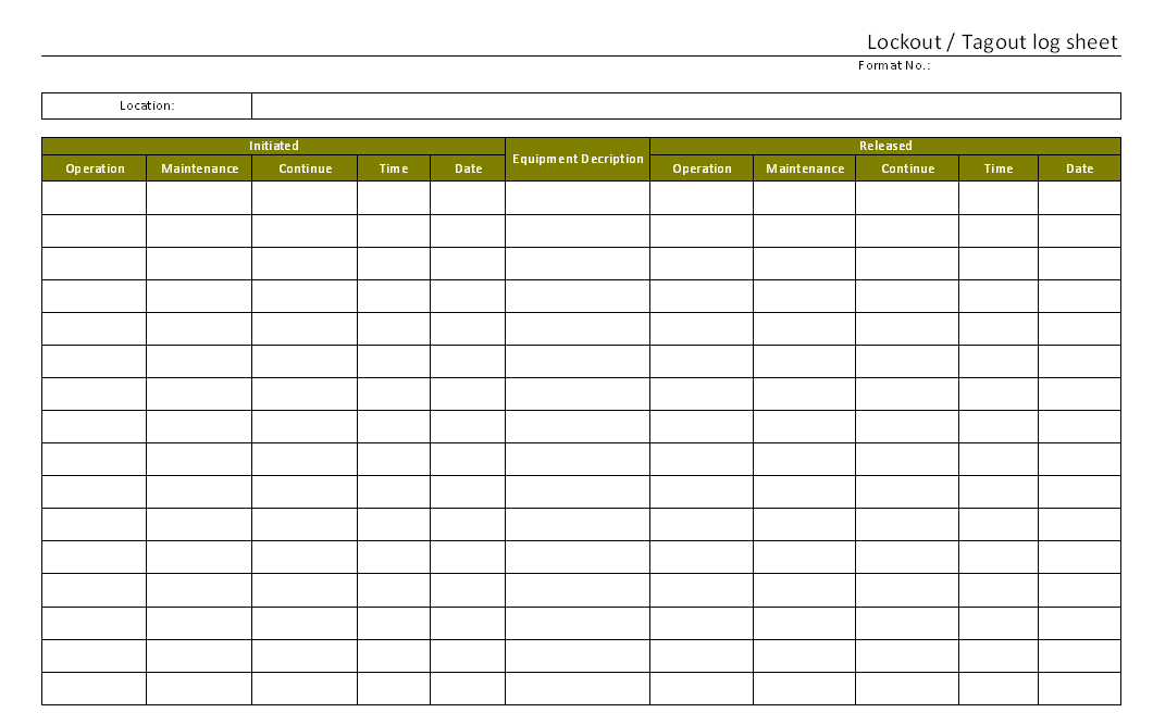 Lock out Tag out log sheet