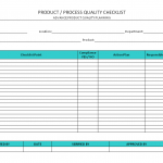 Product/Process quality checklist