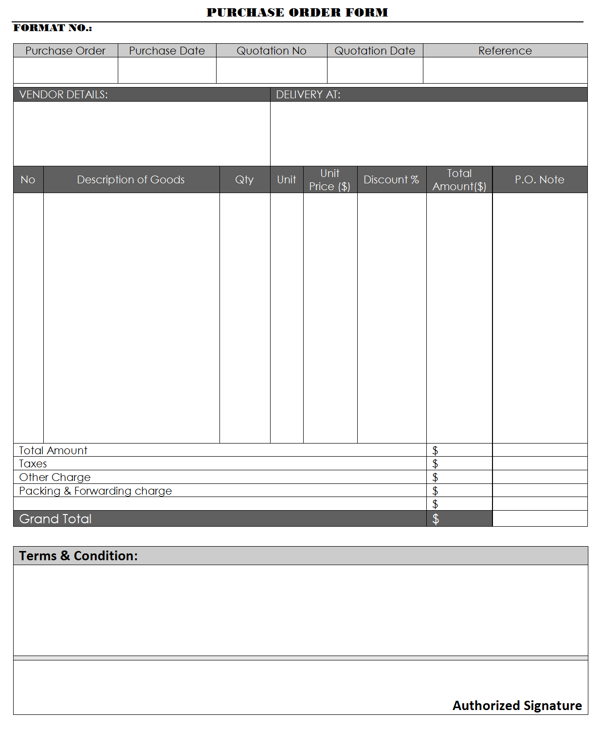 Purchase Order Form  Format Of Purchase Order Form