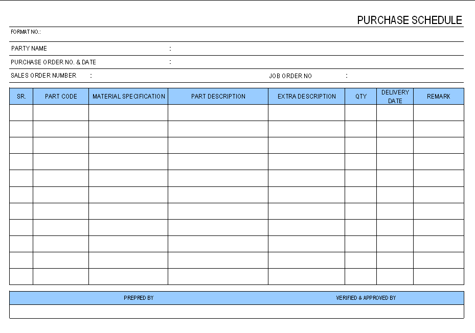 Purchase schedule format
