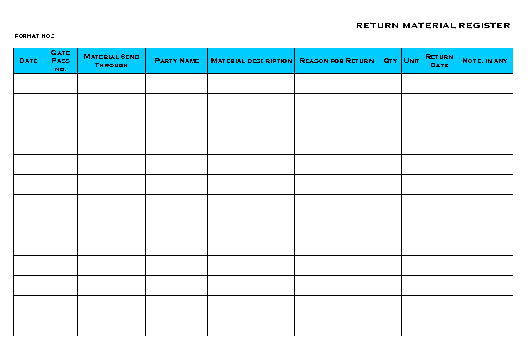 Return Material Register