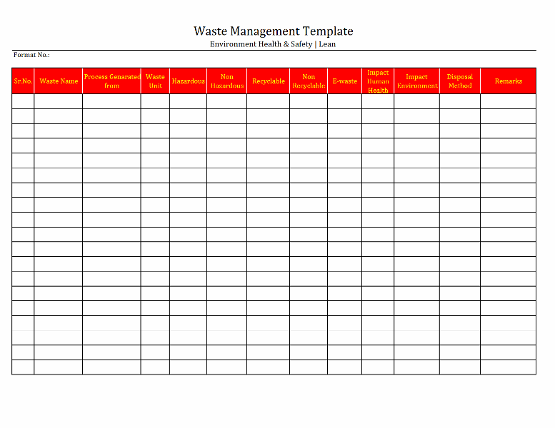 hazardous substance register template - waste management template