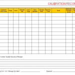 Calibration Record sheet