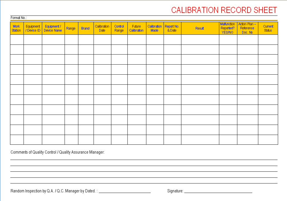 calibration record sheet. Black Bedroom Furniture Sets. Home Design Ideas