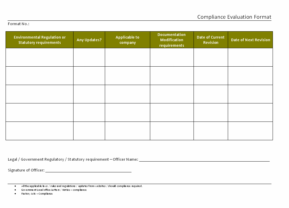 Compliance evaluation format