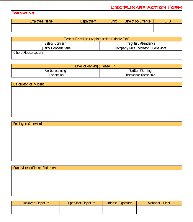 progressive discipline template - disciplinary action form