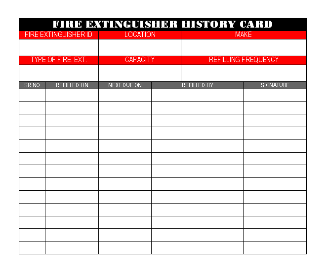 photo about Printable Fire Extinguisher Inspection Tags named Fireplace extinguisher Historical past card -