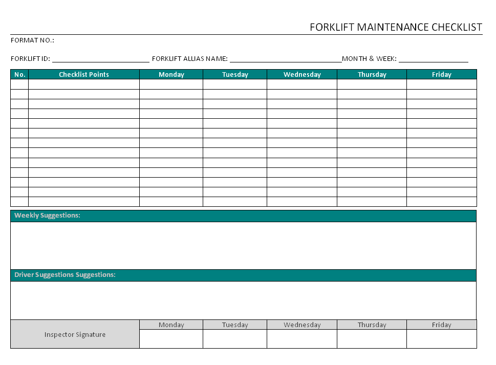Forklift Maintenance Checklist