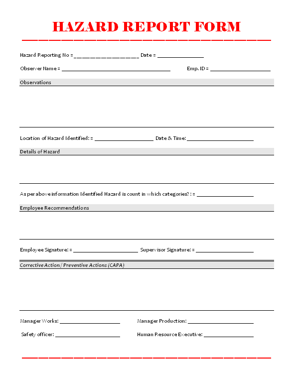 Hazard Report Form