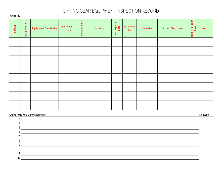 Lifting gear equipment inspection record