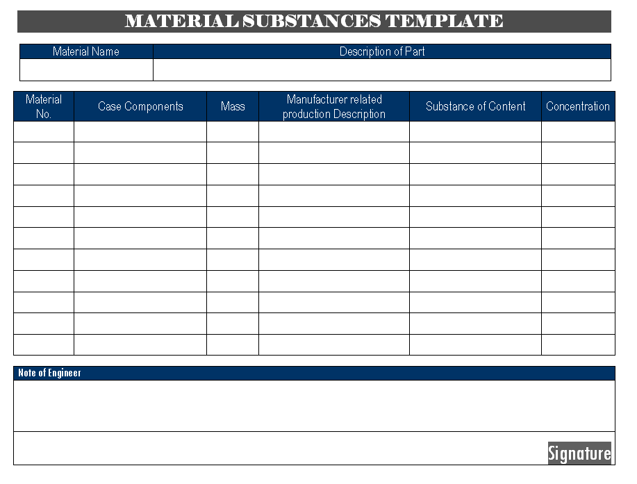 Material Substances template