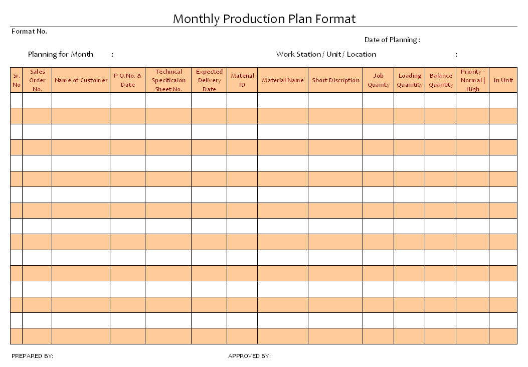 monthly production plan format in word document download free