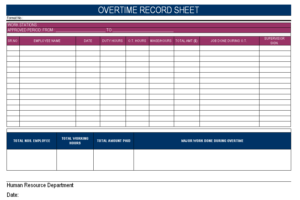 Overtime record sheet for Overtime log template
